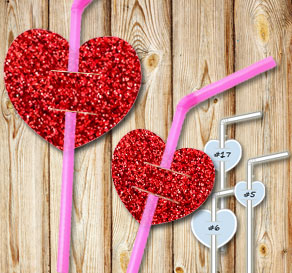 Straw decorations with red glitter hearts 2  | Free printable for Valentines day