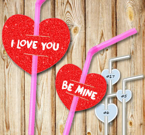 Straw decorations with red glitter hearts and text  | Free printable for Valentines day