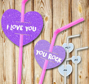 Straw decorations with purple glitter hearts and text  | Free printable for Valentines day
