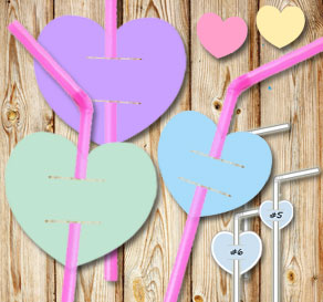 Straw decorations with mixade hearts  | Free printable for Valentines day