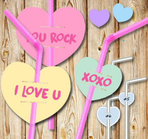 Straw decorations with mixade hearts and text  | Free printable for Valentines day