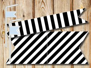 Black and white striped straw decorations  | Free printable straw decorations