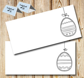 Placement cards: Easter egg on a string  | Free printable for Easter