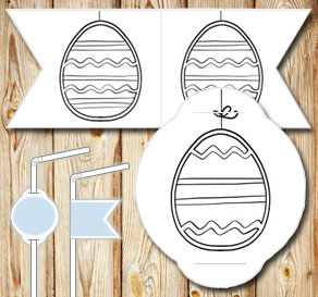Straw decorations: Easter eggs  | Free printable for Easter