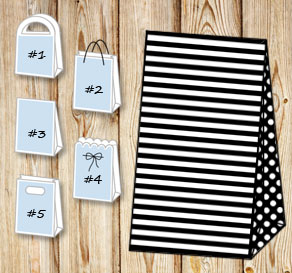 Black and white striped gift bag with dotted sides  | Free printable gift bag