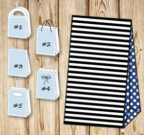 Black and white striped gift bag with dark blue dot...  | Free printable gift bag