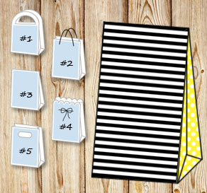 Black and white striped gift bag with yellow dotted...  | Free printable gift bag