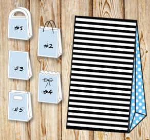 Black and white striped gift bag with light blue do...  | Free printable gift bag