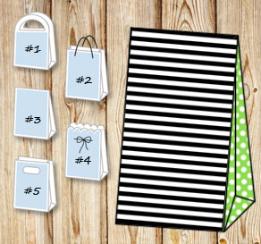 Black and white striped gift bag with light green d...  | Free printable gift bag