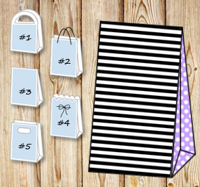 Black and white striped gift bag with light purple ...  | Free printable gift bag