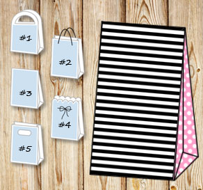 Black and white striped gift bag with light pink do...  | Free printable gift bag