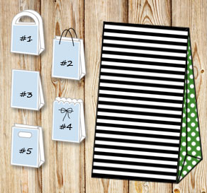 Black and white striped gift bag with green dotted ...  | Free printable gift bag