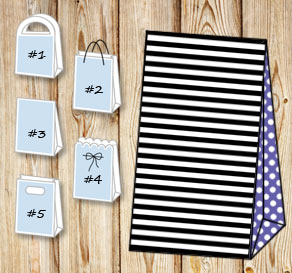 Black and white striped gift bag with purple dotted...  | Free printable gift bag