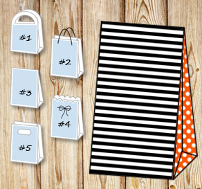 Black and white striped gift bag with orange dotted...  | Free printable gift bag