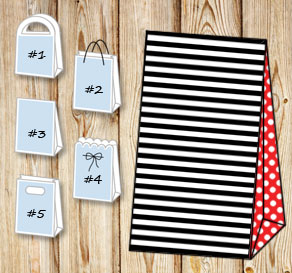 Black and white striped gift bag with red dotted sides  | Free printable gift bag