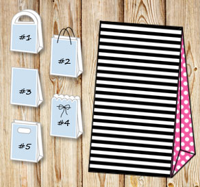 Black and white striped gift bag with pink dotted s...  | Free printable gift bag