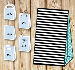 Black and white striped gift bag with turquoise dot...  | Free printable gift bag