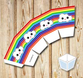Rainbow colored treat box with clouds  | Free printable treat box