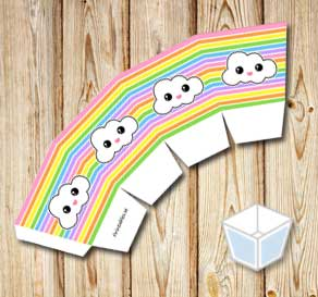 Light rainbow colored treat box with clouds  | Free printable treat box