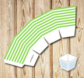 Green and white striped treat box  | Free printable treat box