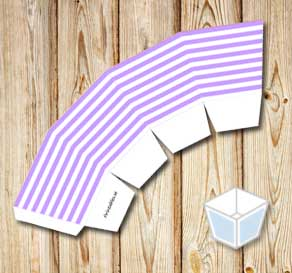 Light purple and white striped treat box  | Free printable treat box