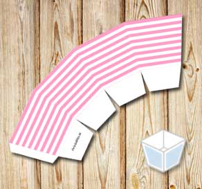 Light pink and white striped treat box  | Free printable treat box