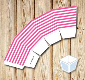 Pink and white striped treat box  | Free printable treat box