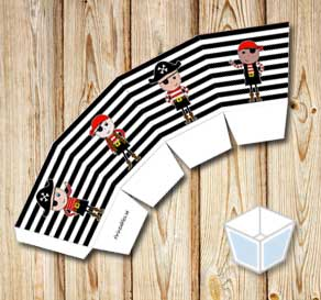 Black and white striped treat box with pirates  | Free printable treat box