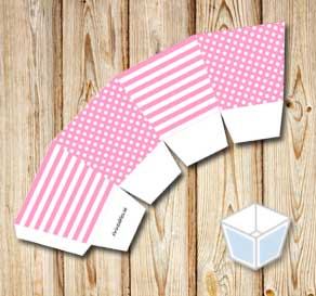 Light pink treat box with white stripes and dots  | Free printable treat box