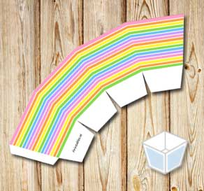 Light rainbow colored treat box  | Free printable treat box