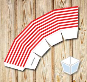 Red and white striped treat box  | Free printable treat box