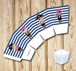 Blue and white striped treat box with pink pirates  | Free printable treat box