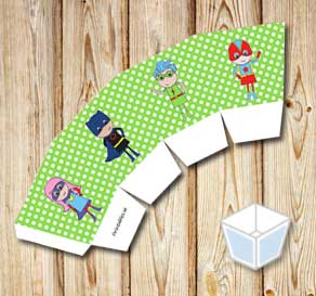 Green treat box with white dots and super heroes  | Free printable treat box