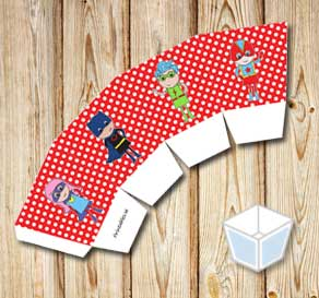 Red treat box with white dots and super heroes  | Free printable treat box