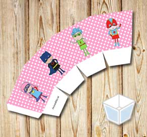 Pink treat box with white dots and super heroes  | Free printable treat box