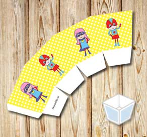 Yellow treat box with white dots and super heroes 2  | Free printable treat box