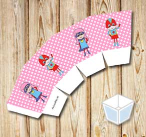 Pink treat box with white dots and super heroes 2  | Free printable treat box