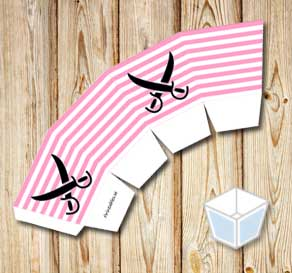 Pink and white striped treat box with black sabers  | Free printable treat box