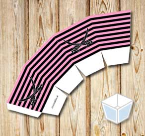 Pink and black striped treat box with black sabers  | Free printable treat box