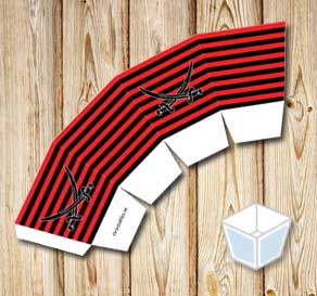 Red and black striped treat box with black sabers  | Free printable treat box