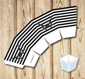 Black and white striped tread box with black sabers  | Free printable treat box