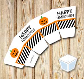 Happy Halloween treat box with pumpkins  | Free printable for Halloween