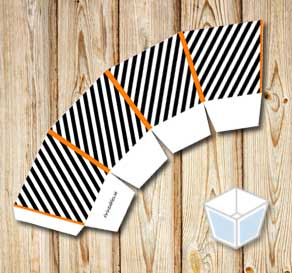 Black and white striped treat box with orange corners  | Free printable for Halloween