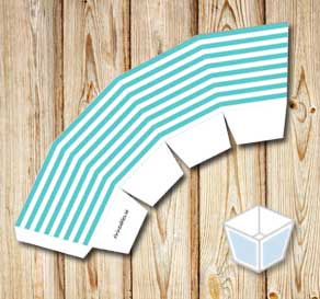 Turquoise and white striped treat box  | Free printable treat box