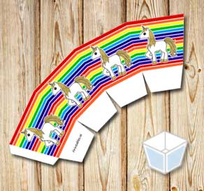 Rainbow colored treat box with golden unicorns  | Free printable treat box