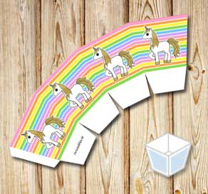 Light rainbow colored treat box with golden unicorns  | Free printable treat box