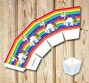 Rainbow colored treat box with unicorns  | Free printable treat box