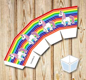 Rainbow colored treat box with pink unicorns  | Free printable treat box