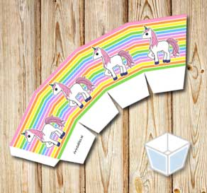 Light rainbow colored treat box with pink unicorns  | Free printable treat box