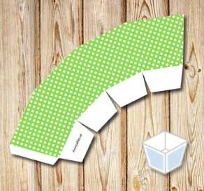 Green treat box with white dots  | Free printable treat box